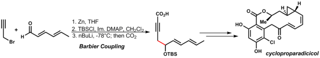Samuel Danashefskey's Total synthesis of Cycloproparadiciciol utilizes an early stage Barbier reaction to access the key intermediate