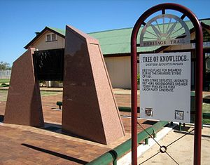 Barcaldine, Queensland - Tree of Knowledge marker in Barcaldine
