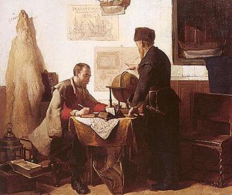 Jacob van Heemskerk - Willem Barentsz and Jacob van Heemskerk charting their route
