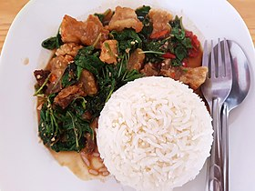 Basil fried crispy pork with rice - Chiang Mai - 2017-07-11 (002).jpg