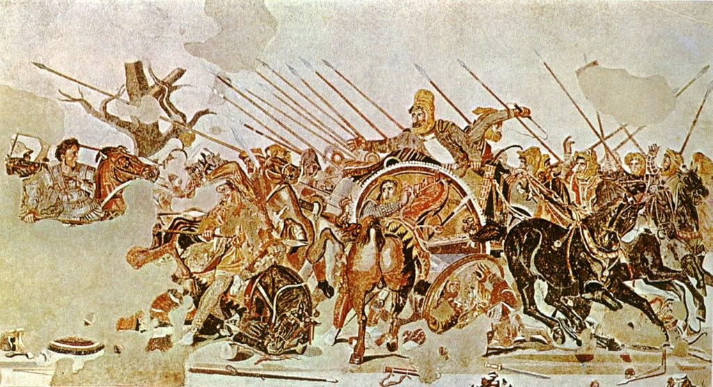 Mosaique Alexandre le Grand contre Darius à la bataille d'Issus ou de Gaugamela. Musée archéologique de Naples.