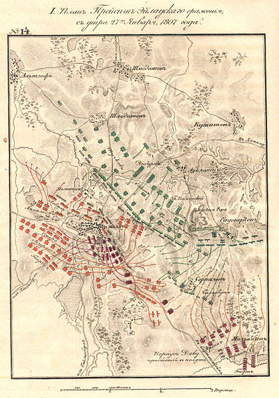 Battle of Eylau early on the second day. French shown in red, Russians in green, Prussians in blue. Battle of Preussisch Eylau Map2.jpg
