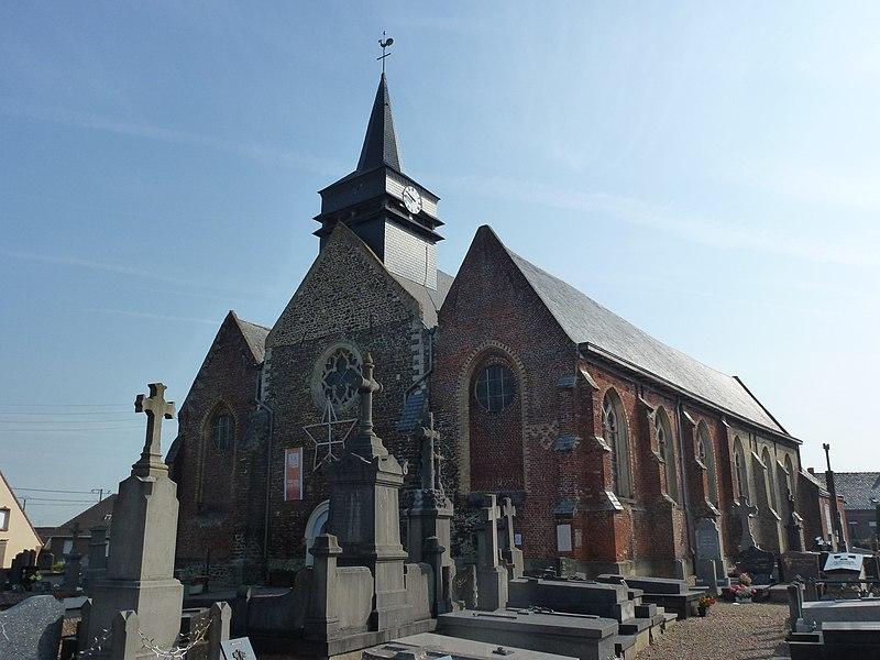 Bavinchove (Nord, Fr) église, façade