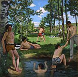 Bazille, Frédéric ~ Summer Scene, 1869, Oil on canvas Fogg Art Museum, Cambridge, Massachusetts.jpg