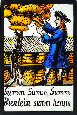 Beekeeper - Beekeeper on an old German stained glass painting. Underneath the refrain of a children's song by Hoffmann von Fallersleben