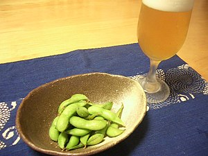 Edamame - Edamame beans and a Japanese beer