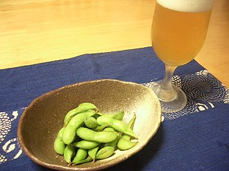 Edamame - Maodou and a  beer