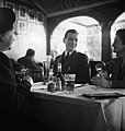 """Belgians enjoying a meal """"Chez Gaston"""", a restaurant near Victoria Station, London, predominantly patronised by their fellow countrymen, 1945. D25117.jpg"""