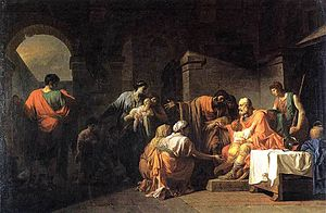 Belisarius - The outcast Belisarius receiving hospitality from a Peasant by Jean-François Pierre Peyron (1779)