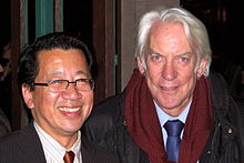 Ben Fong-Torres with Donald Sutherland at the Mill Valley Film Festival, 2005.