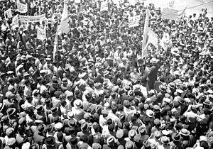 London Conference (1939) - Ben Zvi addresses anti-White Paper demonstration, Jerusalem, 18 May 1939