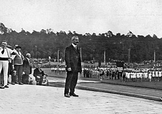 1925 Workers' Summer Olympiad - Organiser Georg Benedix at the opening ceremony of 1925 Workers' Summer Olympiad.
