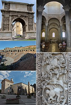 Main landmarks in Benevento. Clockwise from the upper left: the Arch of Trajan, the church of Santa Sofia, the Cathedral's main portal, the castle and the Roman theatre