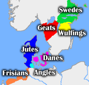 Beowulf - Approximate central regions of tribes mentioned in Beowulf, with the location of the Angles in Angeln. See Scandza for details of Scandinavia's political fragmentation in the 6th century.