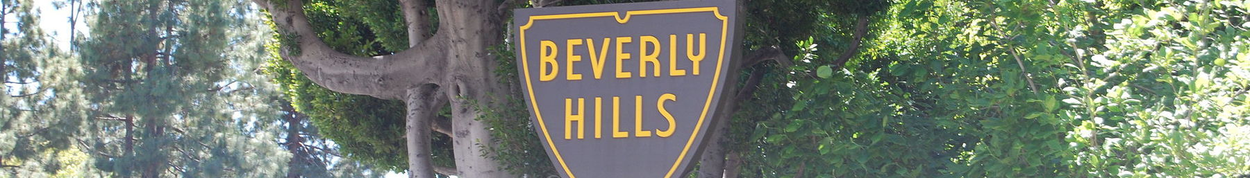 Beverly Hills city sign at Sunset Boulevard and Sierra Drive