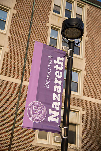 Nazareth College (New York) - Bienvenue, one of many welcome banners in different languages, a symbol of the College's global focus.