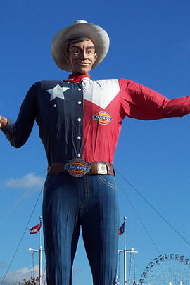 Big Tex presided over every Texas State Fair since 1952 until it was destroyed by a fire in 2012. Since then a new Big Texas was created. Big Tex.JPG