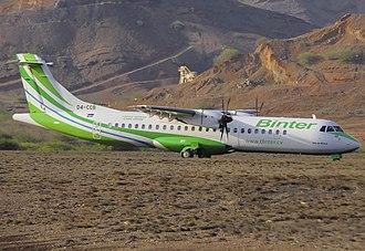Cesária Évora Airport - Binter Cabo Verde ATR 72-500 taxiing at the airport.
