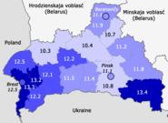 Birth rate in Bresckaja voblasć, Belarus (2017, by districts)