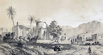 """Bishapur - Bishapur in 1840; a painting by Eugène Flandin in the book """"Travel in Persia"""" (Voyage en Perse)"""