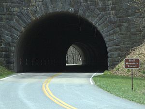 Blue Ridge Parkway tunnels - Image: Bluff Mountain Tunnel close up