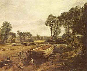 Boat-building near Flatford Mill, 1815. Victoria and Albert Museum, London