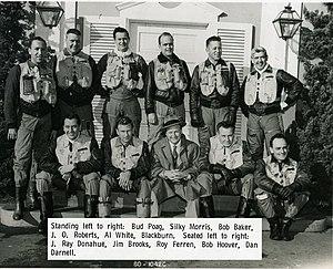 Bob Hoover - Bob Hoover photographed with North American test pilots, bottom row second from right, c.1957