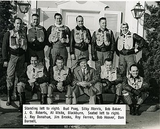 Bob Hoover - Bob Hoover photographed with North American Aviation test pilots, bottom row second from right, c.1957