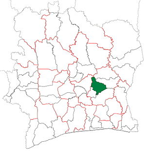 Bocanda Department - Bocanda Department upon its creation in 1998. It kept these boundaries until 2013, but other subdivision boundary changes began to be made in 2000.