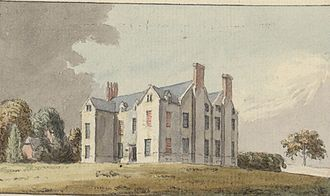 Bodelwyddan Castle - Watercolour of the house that preceded Bodelwyddan Castle c1781