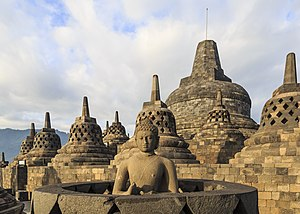 Buddhism in Southeast Asia - The 9th century Borobudur Buddhist stupa in Central Java