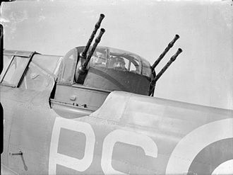 No. 264 Squadron RAF - Boulton Paul Defiant gunner of 264 Squadron in his turret at RAF Kirton in Lindsey