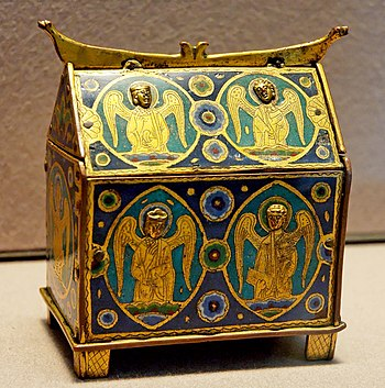 Box with angels, intended to contain small bot...