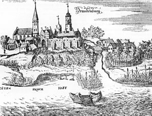 Lischke (settlement) - Brandenburg castle and a lischke by Vistula Lagoon