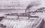 A detail from an 1846 engraving showing the Brighton works