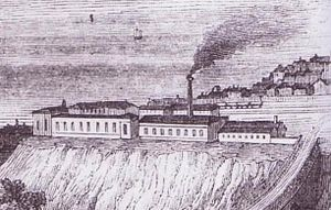 Brighton railway works - The works in 1846 (detail from an engraving of London Road viaduct).