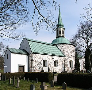 Control point (orienteering) - Bromma Church, used as an orienteering control point in 1901