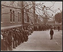 Line in front of Brooklyn County Almshouse