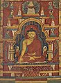 Buddha Shakyamuni on the night of his enlightenment at Bodhgaya. The tree under which he was enlightened appears above the temple- art from Tibet- Walters W8561 (2) (cropped).jpg