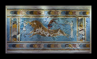 Minoan civilization - Bull-Leaping Fresco found at Knossos