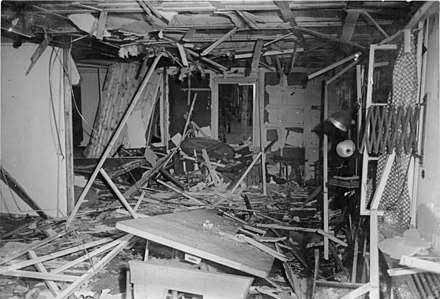 The aftermath of the failed 20 July plot to kill Hitler. Bundesarchiv Bild 146-1972-025-12, Zerstorte Lagerbaracke nach dem 20. Juli 1944.jpg