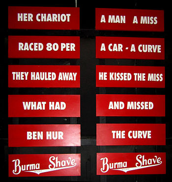 Display of Burma Shave advertising slogans