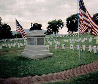 Chattanooga National Cemetery - Monument and graves of the Civil War Medal of Honor recipients in Andrew's Raid