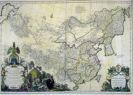 A 1734 Asia map, including China, Chinese Tartary, and Tibet, based on individual maps of the Jesuit fathers. CEM-44-La-Chine-la-Tartarie-Chinoise-et-le-Thibet-1734-2568.jpg