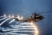 CH-53D Sea Stallion spewing flares