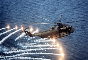 Sikorsky CH-53 Sea Stallion - CH-53D releasing flares near Naval Air Station Patuxent River, 1982.