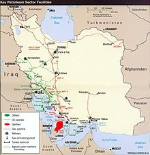 Iranian oil and gas facilities, with the South Pars gas field in red