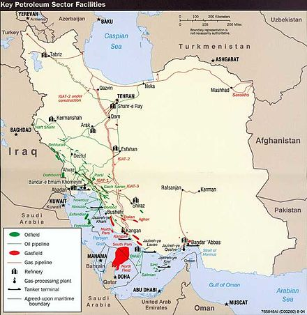 Iran holds 10% of the world's proven oil reserves and 15% of its gas. It is OPEC's second largest exporter and the world's 7th largest oil producer. CIAIranKarteOelGas.jpg