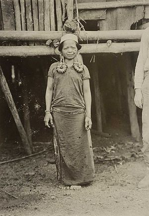 Apo Kayan people - A photo of a Dayak Kenyah woman from the Apo Kayan region (upper Bulungan Regency), central Borneo (now North Kalimantan), Indonesia taken by Anton Willem Nieuwenhuis during the Commission's Trip to central Borneo, circa 1898–1900.