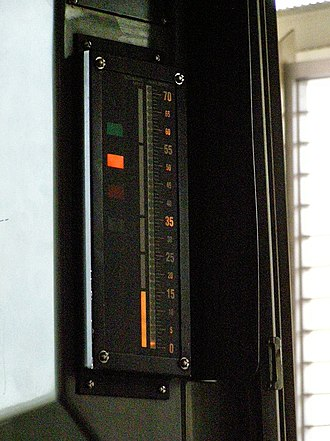 Cab signalling - Cab signal display unit on a Chicago Transit Authority 'L' train. The vertical light bar in the middle of the signal indicates the maximum permitted speed for the section of track where the train is currently located.